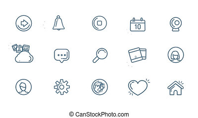 Social Media Icons Set With Alpha Channel - Flat linear...