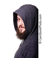 A man with a big beard in the hood. Isolated on white...