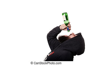man drink beer from bottle with pleasure isolated on white.