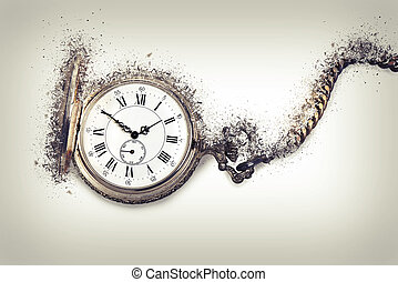 Antique pocket watch exploding, Time countdown concept