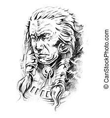 Sketch of tattoo art, indian head