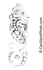 Sketch of tattoo art, animal monster and machine - Sketch of...