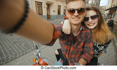 Teenagers Makes Selfie - Young attractive couple of...