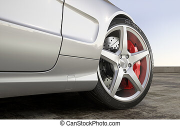 Wheel sports car close-up outdoor
