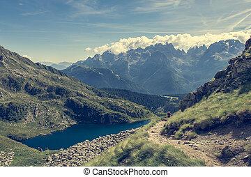 Glacier mountain lake in Brenta Dolomites. Lago Ritorto of...