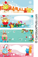 christmas card set - vector illustration of a christmas card