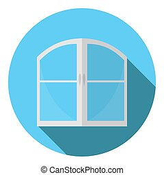 Vector image of a double-winged window on a round background