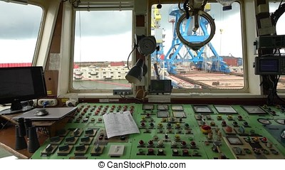 Cabin to control the crane. View from the crane operator...