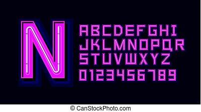 Pink Neon Light Alphabet Font