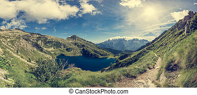 Glacier mountain lake in Brenta Dolomites. Lago Ritorto of...