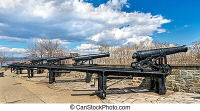 Old cannons in Montmorency Park - Quebec City, Canada - Old...
