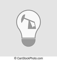 Isolated light bulb with a horsehead pump - Illustration of...