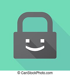 Long shadow pad with a smile text face