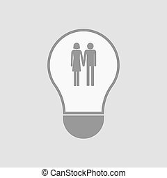 Isolated light bulb with a heterosexual couple pictogram -...