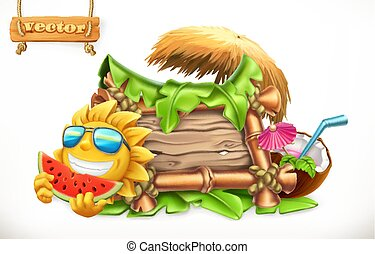 Summer. Wooden banner. Summertime party. 3d vector