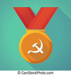 Long shadow medal with the communist symbol - Illustration...