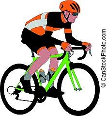 racing bicyclist illustration - vector