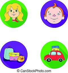 Camping, woman, boy, bag .Family holiday set collection icons in flat style vector symbol stock illustration web.
