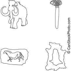 Primitive, mammoth, weapons, hammer .Stone age set collection icons in outline style vector symbol stock illustration web.