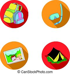 Travel, vacation, backpack, luggage .Family holiday set collection icons in flat style vector symbol stock illustration web.