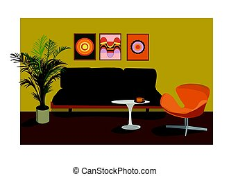 1970s living room vector illustration.
