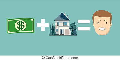 concept of money and home make you happy. Stock vector...