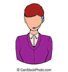Support phone operator in headset icon cartoon