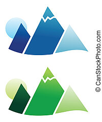Mountain Icon - Green and blue beautiful mountains that can...