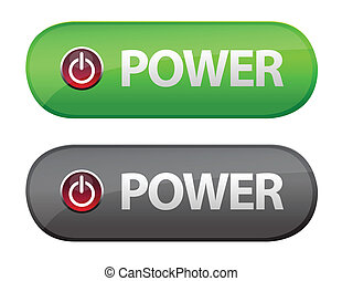 Power button icon - Glossy power button icons over a white...