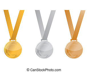Award Medals - Three Medals of Achievement, gold, silver and...