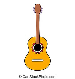 Acoustic guitar icon cartoon - Acoustic guitar icon in...
