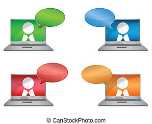 Networking colorful illustration over a white background