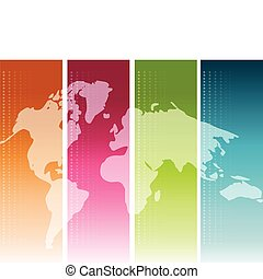 Colorful World Map - Colorful unfolded map of the world...