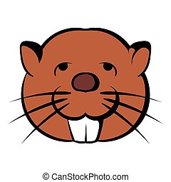 Head of beaver icon cartoon - Head of beaver icon in cartoon...