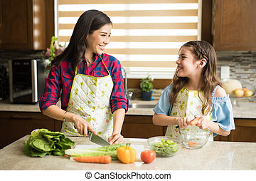 Mom and daughter making a salad