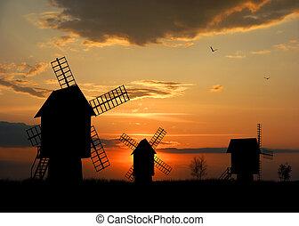 Windmills - Illustration of windmills on sunset background