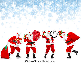 Happy Christmas Santas - Happy Christmas Santas Isolated...