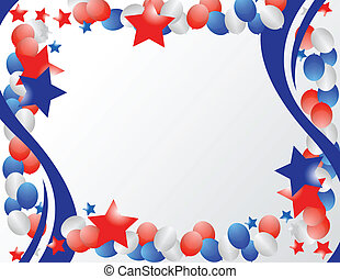 Patriotic Border - Illustrated stars and ribbons for...