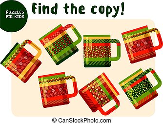Christmas colorful tea mag set in traditional color style. Kid mind game vector illustration in Christmas style. Assorted things to find the match.