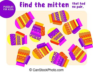 Christmas colorful mittens set in pink and yellow color style. Kid mind game vector illustration in Christmas style. Assorted things to find the match.