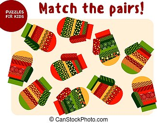 Christmas colorful mittens set in traditional color style. Kid mind game vector illustration in Christmas style. Assorted things to find the match.