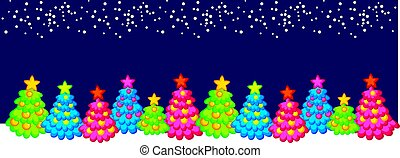 Xmas holiday header with cute Christmas tree. Little decorated trees. Snow and ornamented festive tree background motif