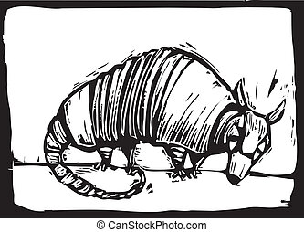 Armadillo - simple woodcut image of a small armadillo.