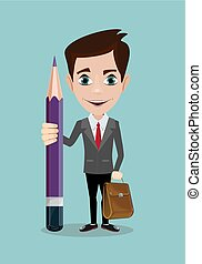 Handsome businessman with pencil .