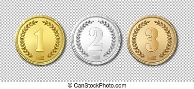Realistic vector gold, silver and bronze award medals icon set isolated on transparent background. Design templates. The first, second, third prizes.
