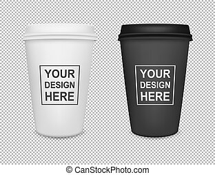 Realistic blank paper coffee cup icon set isolated on transparent background. Vector design template for branding, advertise etc. EPS10 mockup.