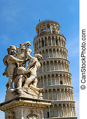 Leaning tower of Pisa - Statue in front of the Leaning Tower...
