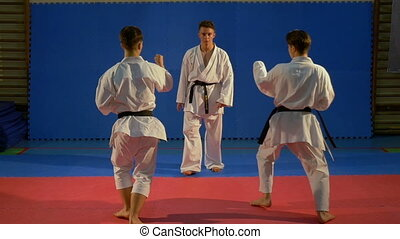 Two karate fighters attacking another and practicing self...