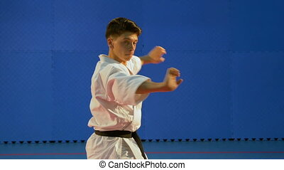 Kata training performed by martial arts practitioner at the dojo
