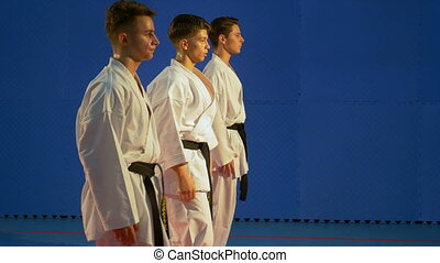 Three teenagers practicing karate punching training for kata